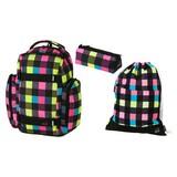 Walker Rucksack Set Neon Checks 3-teilig - Pink/Gelb, MODERN, Textil (32 44 22cm)