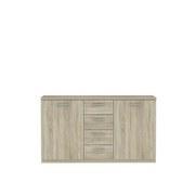 Sideboard Gloria B: 147 cm - Schwarz/Sonoma Eiche, Basics, Holzwerkstoff/Kunststoff (147/84.3/41cm)