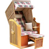 Strandkorb Mattis - Beige/Rot, MODERN, Holz/Kunststoff (90/160/74cm) - LUCA BESSONI