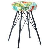 Hocker Kira Dschungeloptik - Multicolor/Schwarz, MODERN, Textil/Metall (30/51cm)