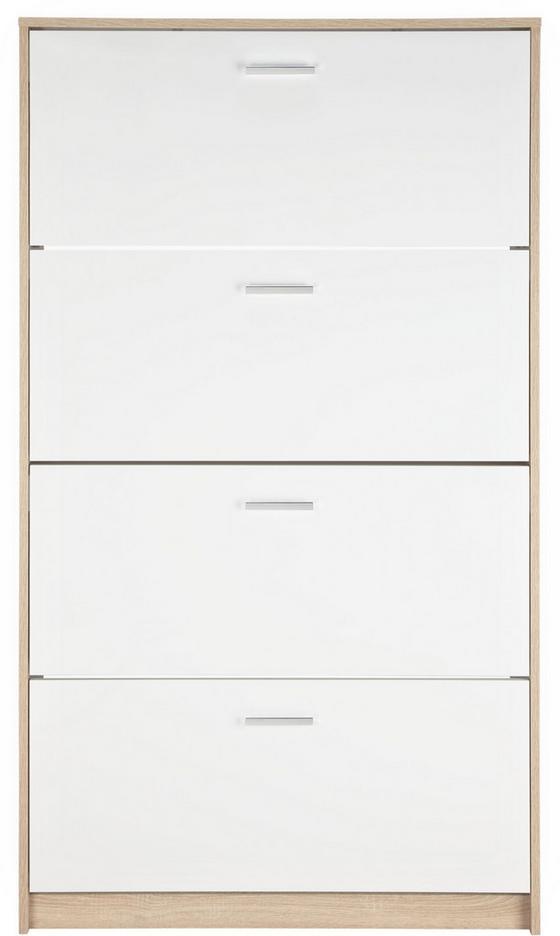 Botník Stefania - bílá/barvy dubu, Moderní, dřevěný materiál (93/162/25cm)