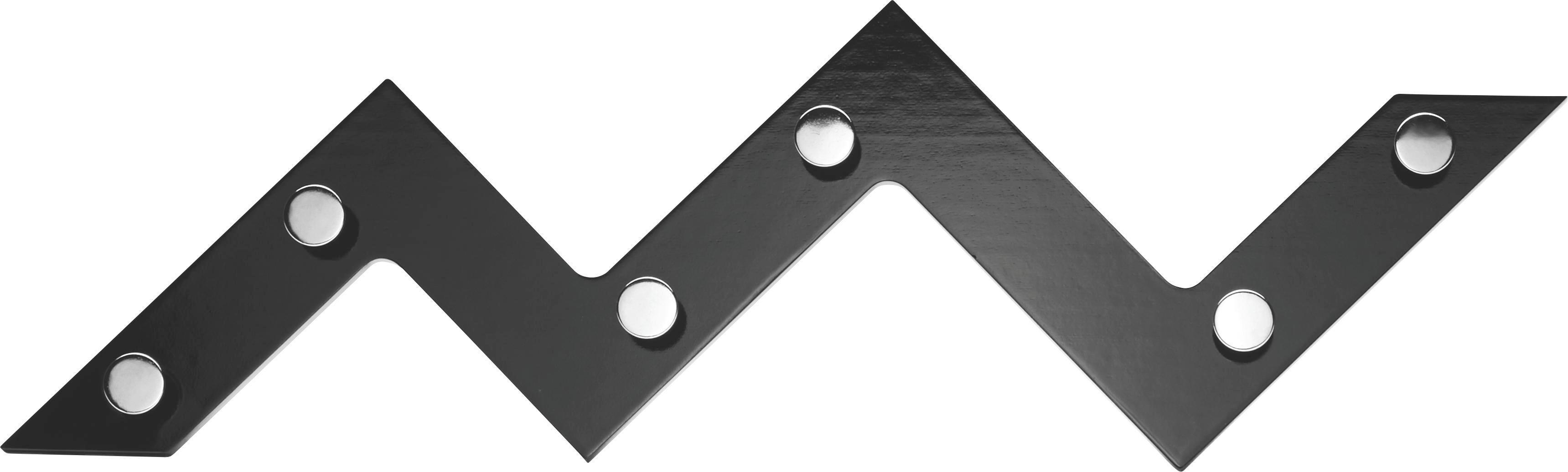 Fali Akasztó Walter 6 - krómszínű/fekete, fém/faanyagok (56/34/3cm) - MÖBELIX