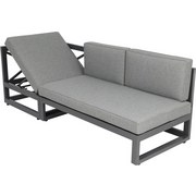 Greemotion Loungegarnitur Costa Rica - Alufarben/Grau, KONVENTIONELL, Textil/Metall (198/203,5cm) - GREEMOTION