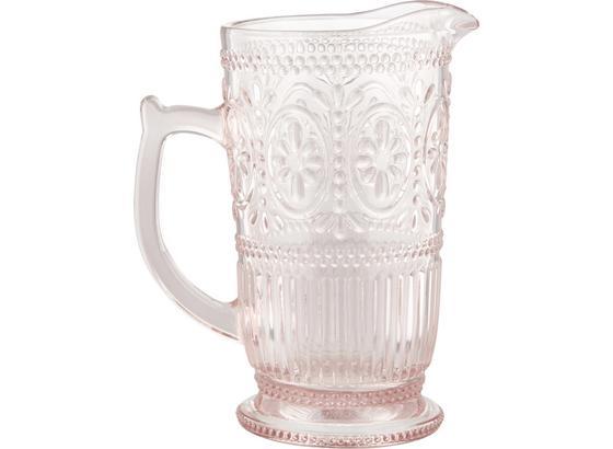 Sklenený Džbán St. Remy - ružová, Romantický / Vidiecky, sklo (12-18/22,8cm) - Zandiara