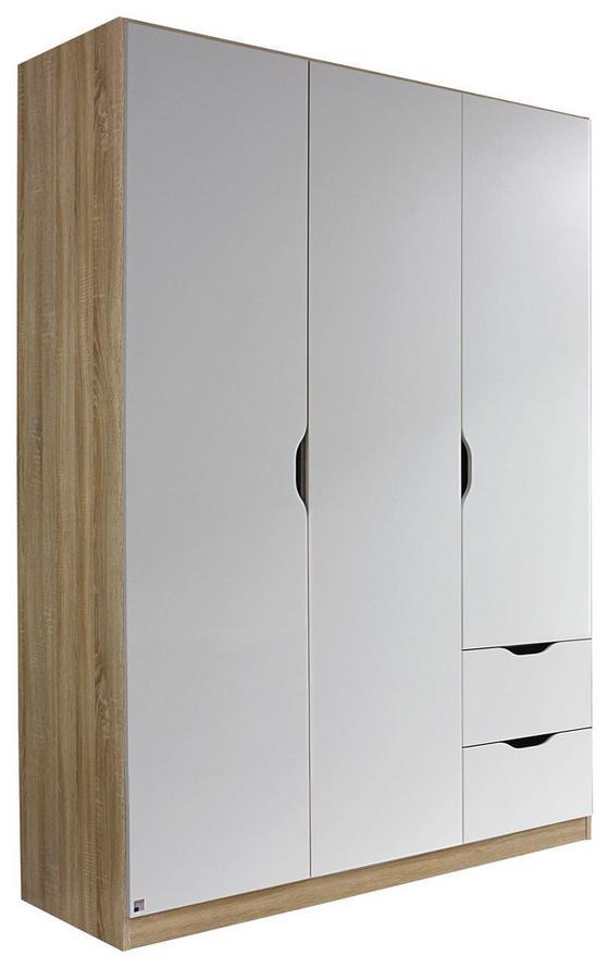 Kombischrank Freising 136 cm Eiche/Weiß - Weiß/Sonoma Eiche, MODERN, Holzwerkstoff (136/197/54cm)