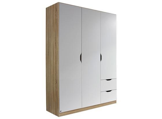Skriňa Freising - biela/dub sonoma, Moderný, kompozitné drevo (136/197/54cm)