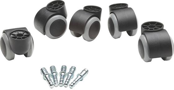 Drehstuhlrolle Filo - Schwarz/Grau, Basics, Kunststoff/Metall - Boxxx