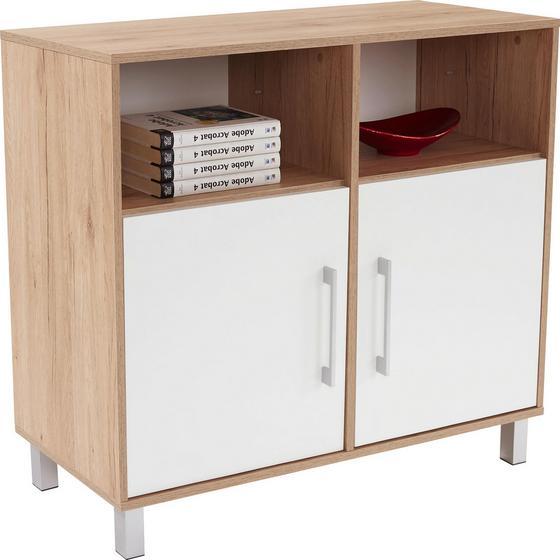 Komód Box - Tölgyfa/Fehér, modern, Faalapú anyag (98/85/40cm)