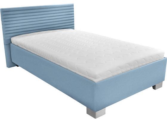 Čalouněná Postel Como 140x200 - bílá/světle modrá, dřevo/textil (214/162/97cm)