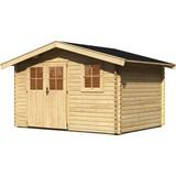 Gartenhaus mit Kippfenster 357x237x267cm Graz 4, Fichte - Naturfarben, KONVENTIONELL, Holz (357/190-237/267cm) - Karibu
