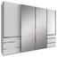 Schwebetürenschrank mit Spiegel 300cm Level 36a, Weiß Dekor - Weiß, MODERN, Glas/Holzwerkstoff (300/216/65cm)
