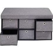 Šatní Lavice Maika - tmavě šedá, Moderní, kov/dřevo (76/38/38cm) - Modern Living