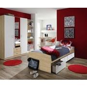 Posteľ Point 90 - biela/dub sonoma, Moderný, drevený materiál (95/55/206cm)