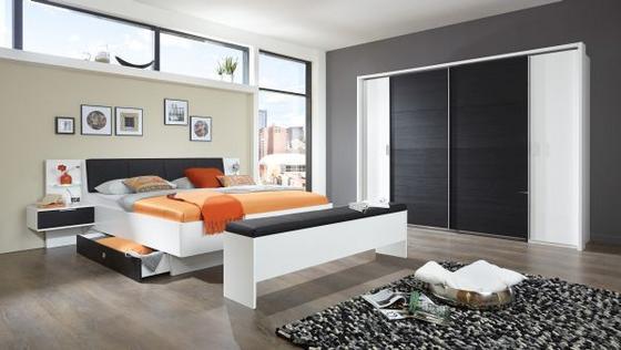 Ágykeret Virgo - fekete/tölgy színű, modern, faanyagok (180/200cm)