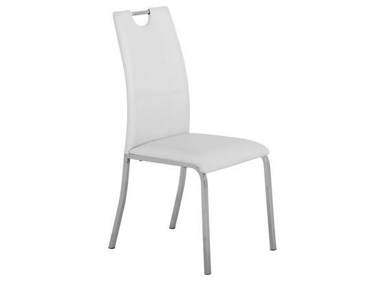 Stolička Mandy - biela/chrómová, Konvenčný, kov/textil (42/96/60cm)