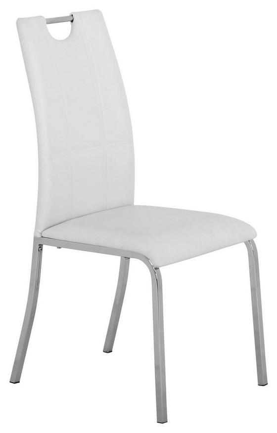 Szék Mandy - Króm/Fehér, konvencionális, Fém/Textil (42/96/60cm)