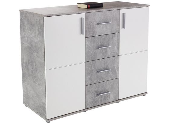 Kommode Ina 03 B:132cm Beton Optik/Weiß Dekor - Weiß/Grau, MODERN, Holzwerkstoff (132,2/95,1/38,3cm)