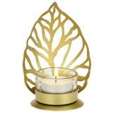 Teelichthalter Liam - Goldfarben, LIFESTYLE, Glas/Metall (9/6.5/12.5cm)