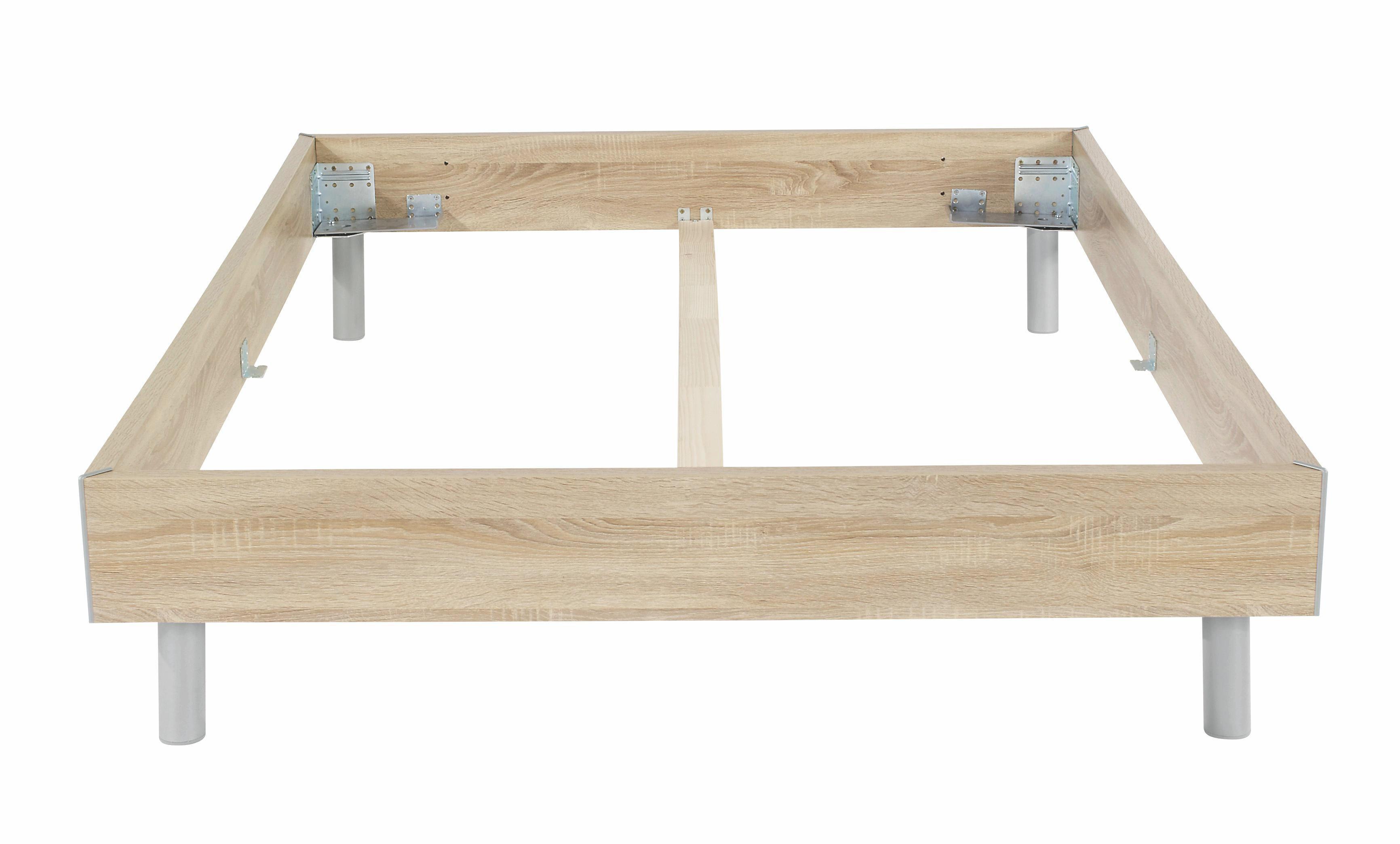 Futonbettrahmen Belia, 140x200 cm - Alufarben, KONVENTIONELL, Holz (140/200cm)