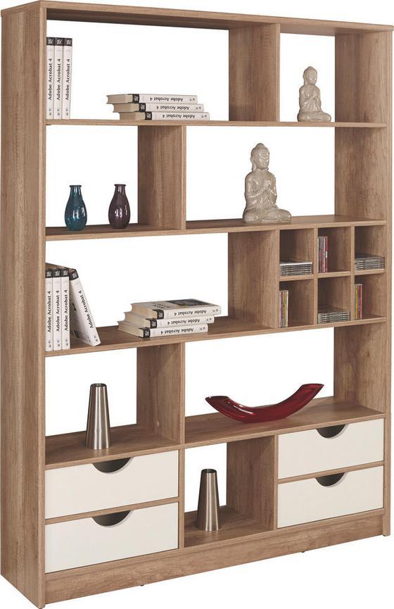 Regál Meggy - farby dubu/biela, Moderný, drevo (140/184/32cm)
