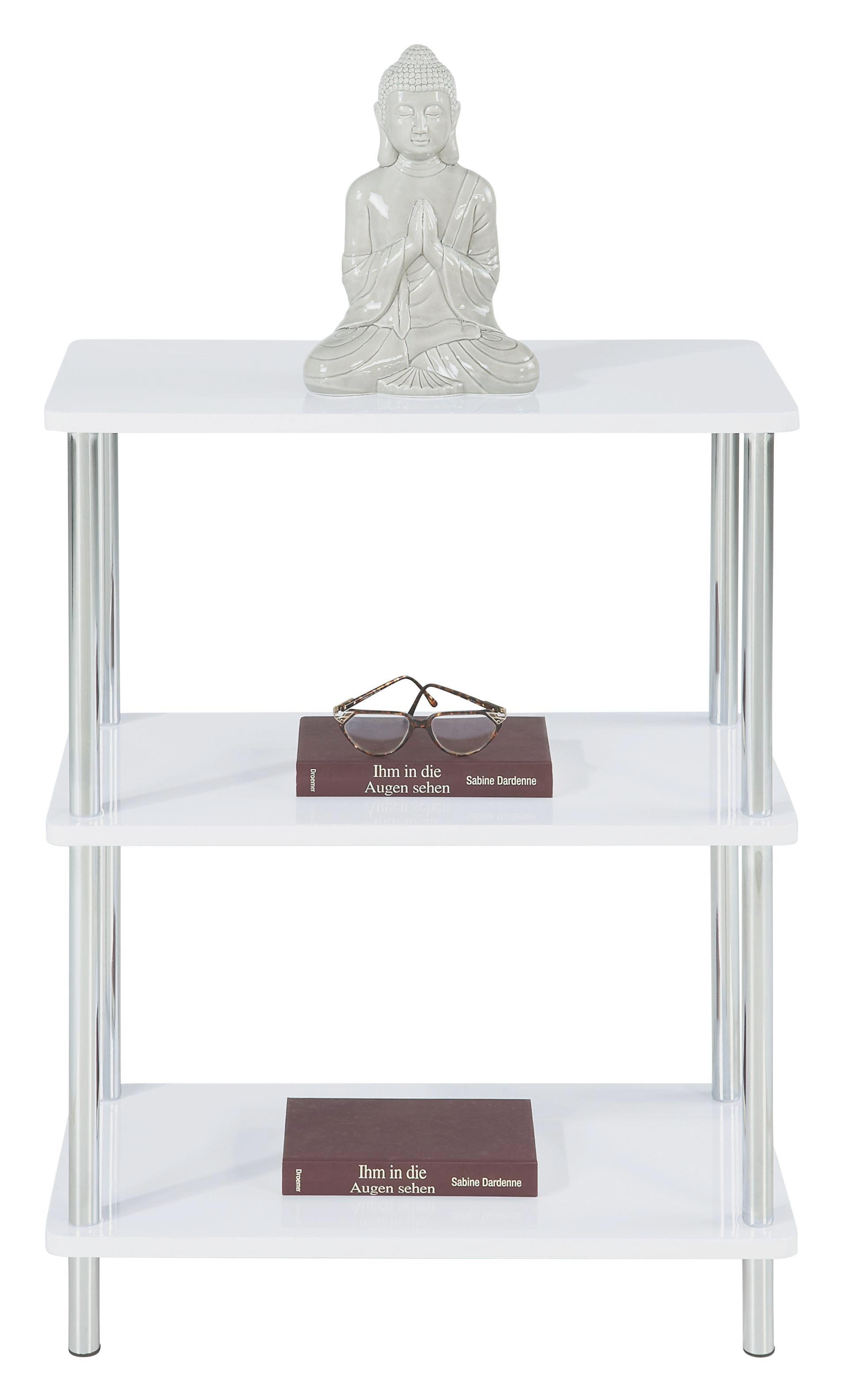 Regál Tim - bílá/barvy chromu, Moderní, kov/dřevěný materiál (60/75/30cm)