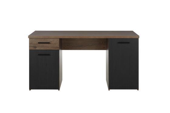 Psací Stůl Tokio - barvy dubu/černá, Moderní, kov/dřevěný materiál (145/76,3/60cm)