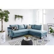 Ecksofa mit Schlaffunktion und Kissen Charming Charlie - Türkis/Blau, Basics, Textil (230/200cm) - MID.YOU