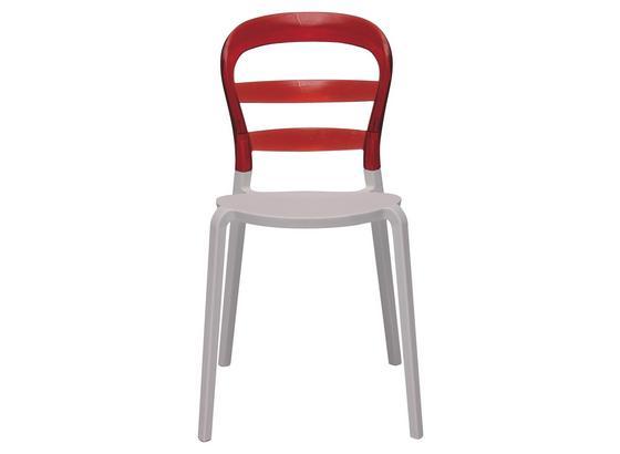 Stolička Lina - biela/červená, Design (45/85/50cm)