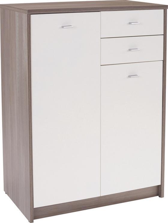 Kommode 74cm Avola/ Weiß Dekor - Dunkelbraun/Weiß, MODERN, Holzwerkstoff (74/111,4/34,6cm)