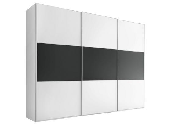 Schwebetürenschrank 298 cm Includo, Weiß - Anthrazit/Weiß, MODERN, Holzwerkstoff (298/222/68cm)