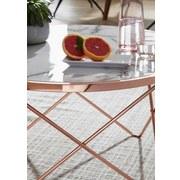 Couchtisch Rund mit Bedruckter Platte Marmor/Kupferfarben - Weiß/Grau, Design, Holzwerkstoff/Metall (85/85/49cm) - MID.YOU