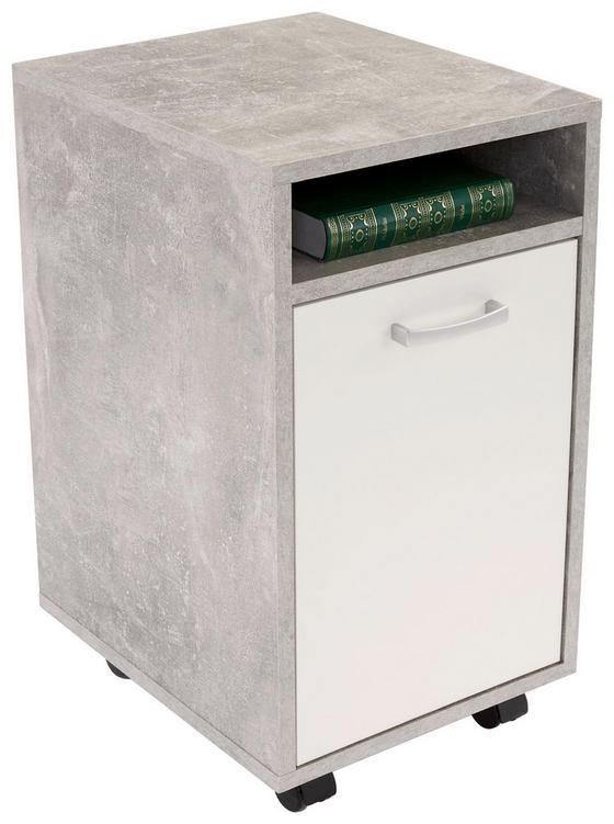 Görgős Konténer Laurenc - fehér/szürke, modern, műanyag/faanyagok (33/59,5/38cm)