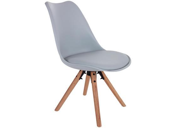 Stuhl Levi Lederlook Hellgrau, Beine Echtholz - Eichefarben/Hellgrau, MODERN, Holz/Kunststoff (48/81/57cm) - Ombra