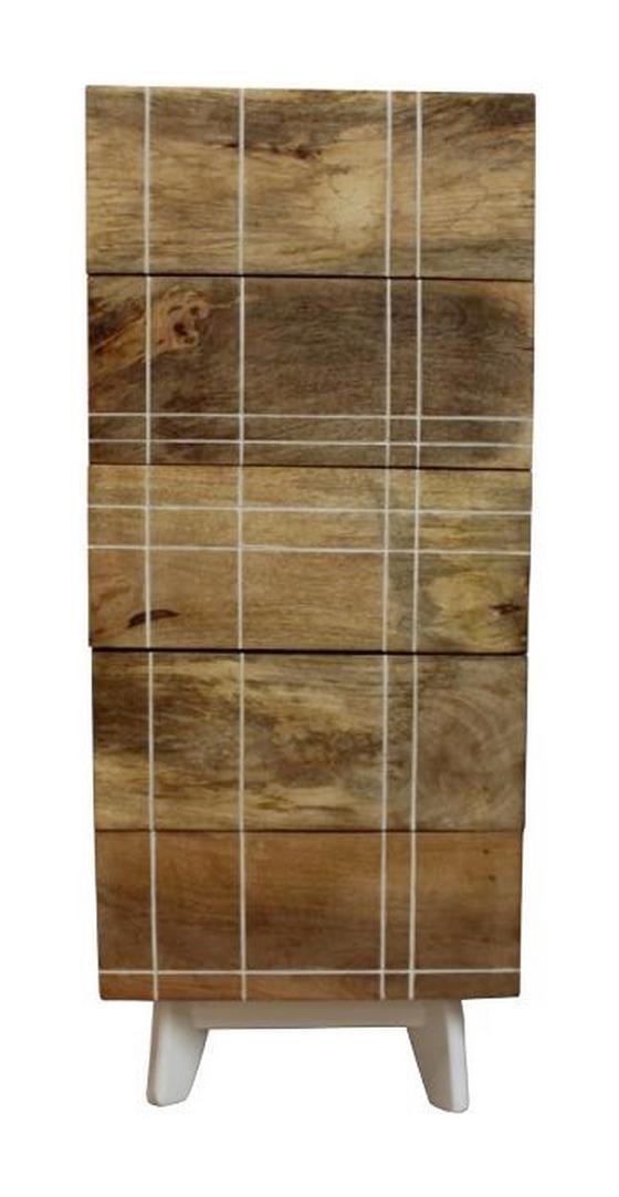 Highboard Mango 45 cm - Naturfarben/Weiß, KONVENTIONELL, Holz/Holzwerkstoff (45/110/40cm)