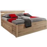 Bett inkl. Laden + Led 140x200 Mars, Eiche Dekor - Eichefarben/Weiß, MODERN, Holzwerkstoff (140/200cm)