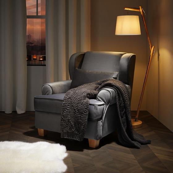 Tv Kreslo Matteo - sivá, Moderný, drevo/textil (86/86/90cm) - Mömax modern living