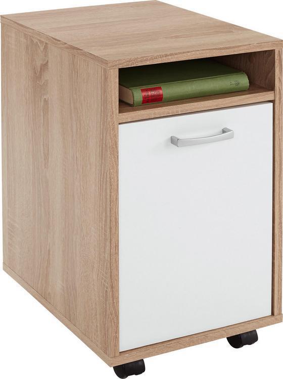 Kontajnér Na Kolieskach Laurenc - farby dubu, Moderný, umelá hmota/drevo (33/59,5/38cm)