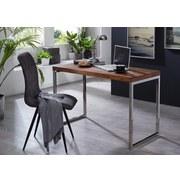Schreibtisch Teilmassiv B 120cm H 76cm Guna, Sheesham - Chromfarben/Sheeshamfarben, Design, Holz/Metall (120/76/60cm) - MID.YOU