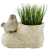 Pflanzentopf Albry - Creme/Grau, KONVENTIONELL, Keramik (21/11,5/15cm) - Ombra