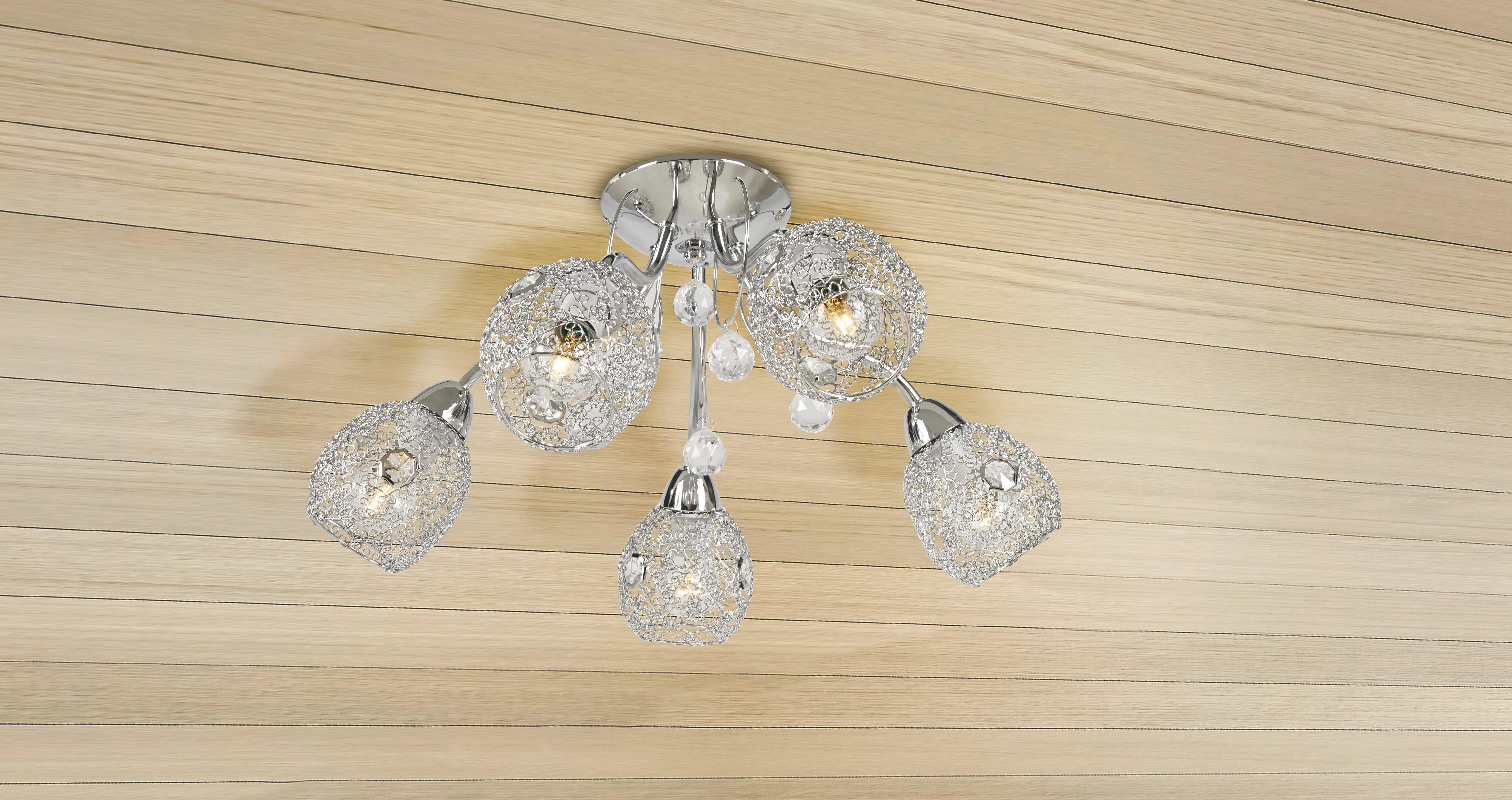Mennyezeti Lámpa Anjo - krómszínű, konvencionális, műanyag/fém (54/22cm) - JAMES WOOD