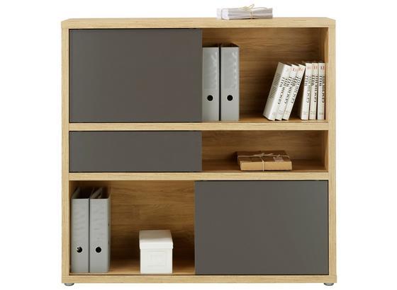 Regál Riga - farby dubu/antracitová, Moderný, kompozitné drevo (116,6/112,8/37cm) - Premium Living