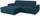 Wohnlandschaft L-form Verona 180x265 cm - Türkis/Chromfarben, MODERN, Holz/Kunststoff (180/265cm) - Ombra