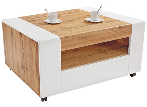 Couchtisch Holz mit Ablagefach +Lade Toronto, Eichendekor - Eichefarben/Weiß, MODERN, Holzwerkstoff (110/48,3/75cm) - Ombra