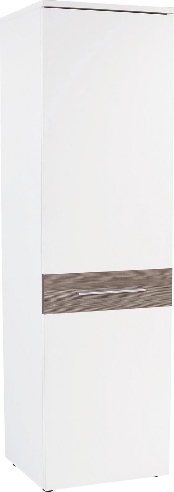 Šatná Skriňa Monza - biela/tmavohnedá, Moderný, drevený materiál (60/196/36cm)