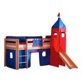 Spielbett Alex 90x200 cm Buche - Rot/Dunkelblau, Design, Holz/Textil (90/200cm)