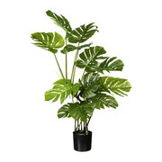 Kunstpflanze Split Philpdendron H: 130 cm - Schwarz/Grün, Trend, Kunststoff (130cm) - MID.YOU