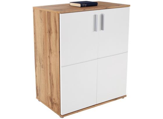 Komoda Ina 01 - bílá/tmavě hnědá, Moderní, kompozitní dřevo (88,2/95,2/38,3cm)