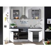 Küchenblock Welcome Stone Mini 210cm Beton/Weiß - Weiß/Grau, MODERN, Holzwerkstoff (210/206/60cm)