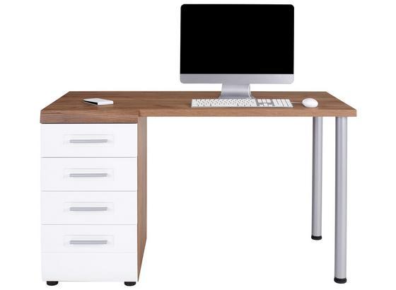 Schreibtisch mit Stauraum B 130cm H 72cm Avensis New - Eichefarben/Weiß, KONVENTIONELL, Holzwerkstoff (130/72/61,9cm) - Luca Bessoni