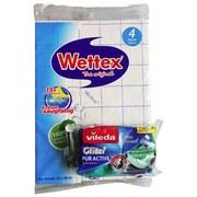 Schwammtuch Wettex Dünn 4er Pack + Onpack - Blau/Weiß, Basics, Textil (18,5/28/3cm)